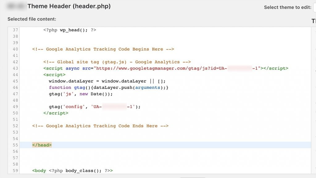 wordpress-theme-editor-headerphp-embedding-analytics-tracking-code